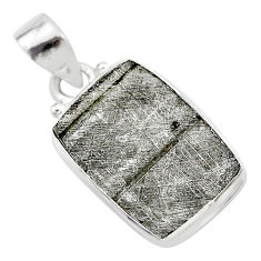 9.22cts natural grey meteorite gibeon 925 sterling silver pendant jewelry t29102