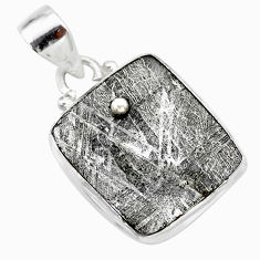 8.76cts natural grey meteorite gibeon 925 sterling silver pendant jewelry t29118