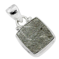 10.78cts natural grey meteorite gibeon 925 sterling silver pendant r95308