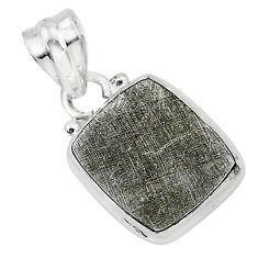 10.13cts natural grey meteorite gibeon 925 sterling silver pendant r95313