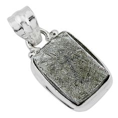 10.57cts natural grey meteorite gibeon 925 sterling silver pendant r95327