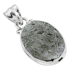 12.89cts natural grey meteorite gibeon 925 sterling silver pendant r95342