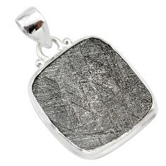 11.70cts natural grey meteorite gibeon 925 sterling silver pendant t29085