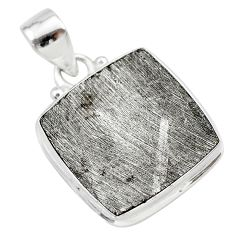 19.82cts natural grey meteorite gibeon 925 sterling silver pendant t29088