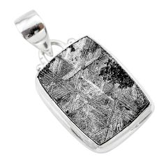 17.57cts natural grey meteorite gibeon 925 sterling silver pendant t29095