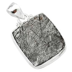 10.02cts natural grey meteorite gibeon 925 sterling silver pendant t29098