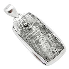 30.40cts natural grey meteorite gibeon 925 sterling silver pendant t29099