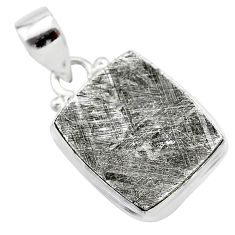 13.66cts natural grey meteorite gibeon 925 sterling silver pendant t29107