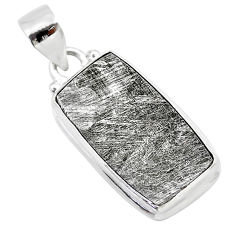 17.95cts natural grey meteorite gibeon 925 sterling silver pendant t29114