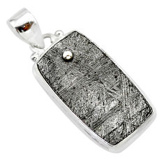 22.10cts natural grey meteorite gibeon 925 sterling silver pendant t29116