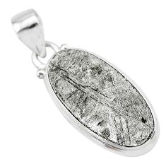 16.54cts natural grey meteorite gibeon 925 sterling silver pendant t29122