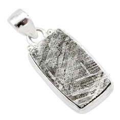 15.55cts natural grey meteorite gibeon 925 sterling silver pendant t29131
