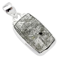 14.47cts natural grey meteorite gibeon 925 sterling silver pendant t29133