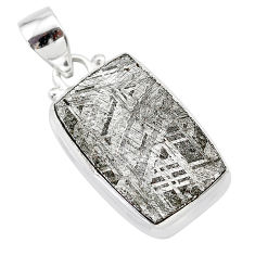 15.55cts natural grey meteorite gibeon 925 sterling silver pendant t29136