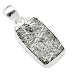 13.99cts natural grey meteorite gibeon 925 sterling silver pendant t29137