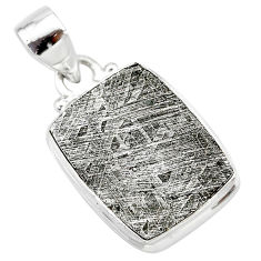 16.03cts natural grey meteorite gibeon 925 sterling silver pendant t29140