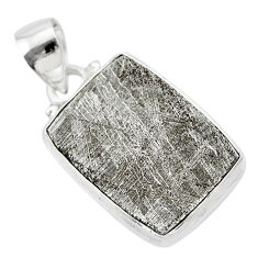 14.90cts natural grey meteorite gibeon 925 sterling silver pendant t29142