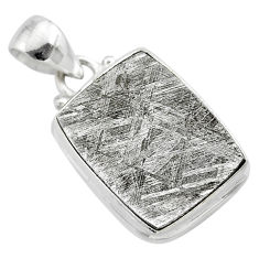 13.87cts natural grey meteorite gibeon 925 sterling silver pendant t29145