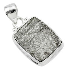 17.69cts natural grey meteorite gibeon 925 sterling silver pendant t29148