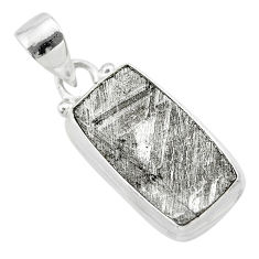 13.48cts natural grey meteorite gibeon 925 sterling silver pendant t29149