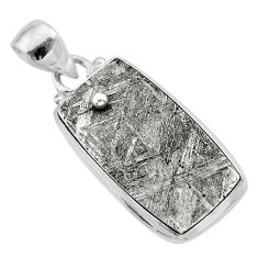 13.87cts natural grey meteorite gibeon 925 sterling silver pendant t29151