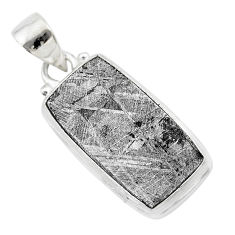 17.55cts natural grey meteorite gibeon 925 sterling silver pendant t29152