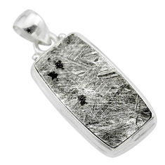 20.86cts natural grey meteorite gibeon 925 sterling silver pendant t29154