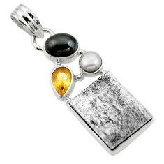 20.71cts natural grey meteorite gibeon citrine 925 silver pendant r44364