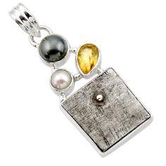 20.98cts natural grey meteorite gibeon citrine 925 silver pendant r44397