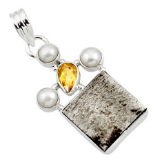 21.74cts natural grey meteorite gibeon citrine 925 silver pendant r44399