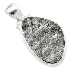 13.15cts natural grey meteorite gibeon fancy 925 sterling silver pendant t29112