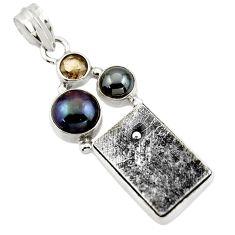 18.08cts natural grey meteorite gibeon hematite 925 silver pendant r44376