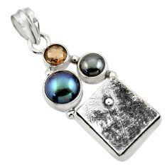 17.18cts natural grey meteorite gibeon hematite 925 silver pendant r44377