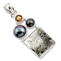 17.55cts natural grey meteorite gibeon hematite 925 silver pendant r44395
