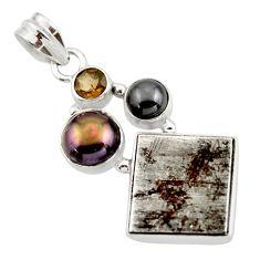 18.54cts natural grey meteorite gibeon hematite 925 silver pendant r44396