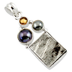 18.31cts natural grey meteorite gibeon hematite 925 silver pendant r44398