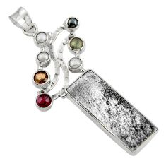 26.59cts natural grey meteorite gibeon labradorite 925 silver pendant r44365