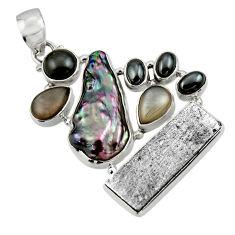 30.87cts natural grey meteorite gibeon labradorite 925 silver pendant r44371