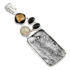 0.00gms natural grey meteorite gibeon labradorite 925 silver pendant r44373