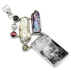23.15cts natural grey meteorite gibeon labradorite 925 silver pendant r44374