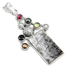 31.15cts natural grey meteorite gibeon labradorite 925 silver pendant r44379