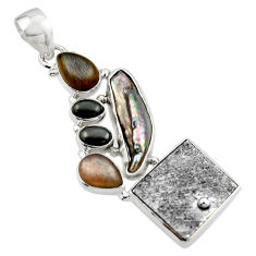 21.72cts natural grey meteorite gibeon moonstone 925 silver pendant r44380
