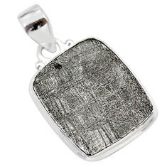 11.73cts natural grey meteorite gibeon octagan shape 925 silver pendant t29084