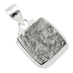 13.09cts natural grey meteorite gibeon octagan shape 925 silver pendant t29153