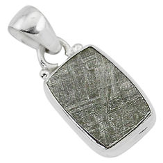 5.85cts natural grey meteorite gibeon octagan sterling silver pendant r95324