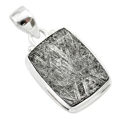 16.54cts natural grey meteorite gibeon octagan sterling silver pendant t29100