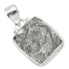12.60cts natural grey meteorite gibeon octagan sterling silver pendant t29146