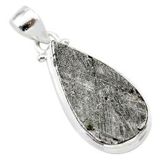 17.65cts natural grey meteorite gibeon pear 925 sterling silver pendant t29087