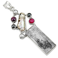 27.15cts natural grey meteorite gibeon ruby 925 sterling silver pendant r44368