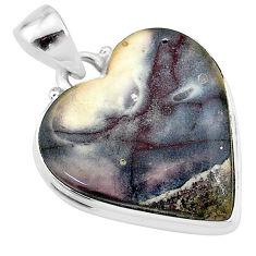 17.65cts natural grey porcelain jasper (sci fi) heart 925 silver pendant t13385